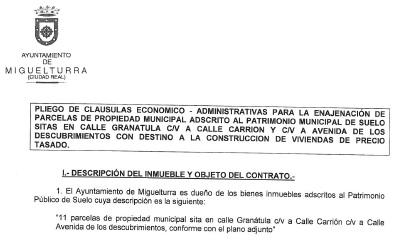 El Ayuntamiento de Miguelturra publica el pliego de cláusulas para la enajenación de parcelas municipales