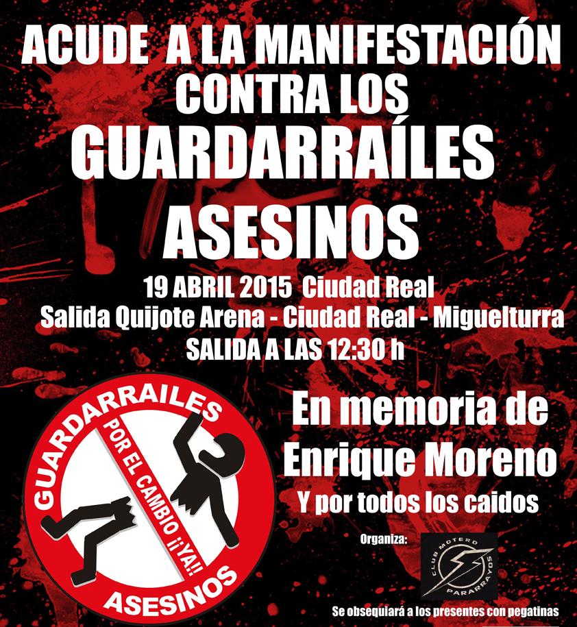 Manifestación de moteros en rechazo de los guardarraíles y en memoria de Enrique Moreno