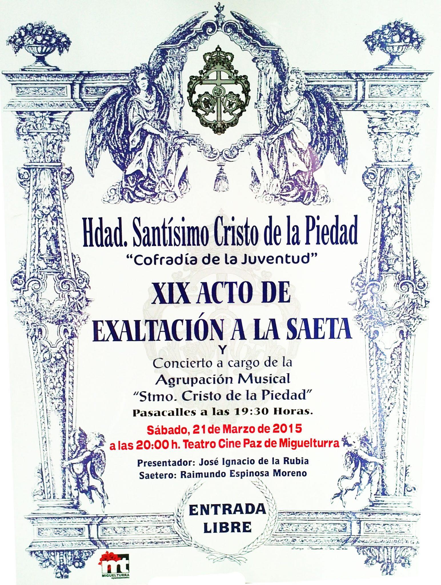 Decimonoveno Acto de Exaltación a la Saeta en el Teatro Cine Paz de Miguelturra