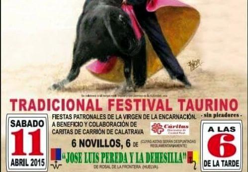 Carrión celebrará su Festival Taurino de Feria este sábado 11 de abril a las 6, si el tiempo no lo impide, tras aplazarse por la lluvia el pasado lunes