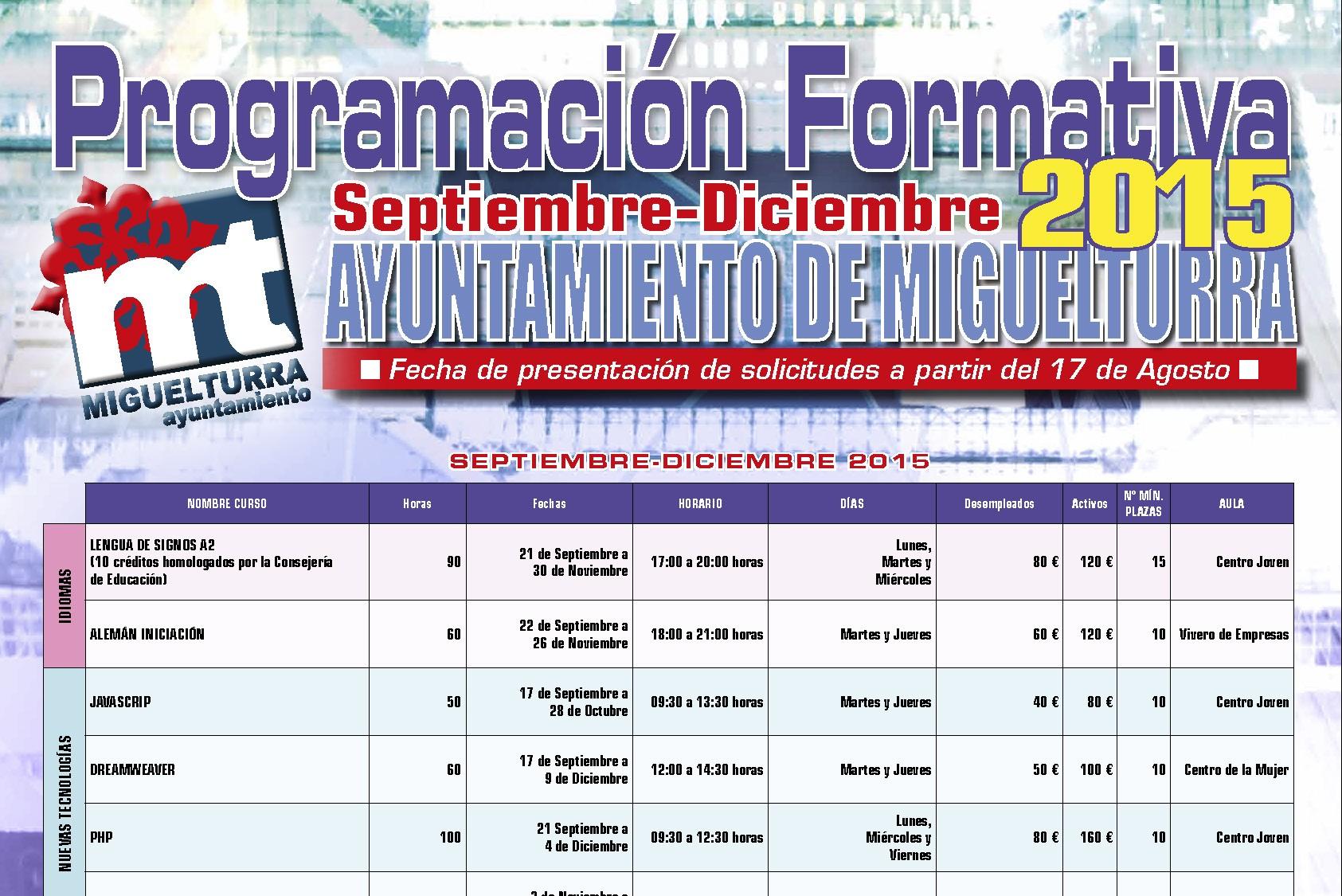 El Cuarto Plan de Formación del Ayuntamiento de Miguelturra abre el plazo de inscripción para el último trimestre del año