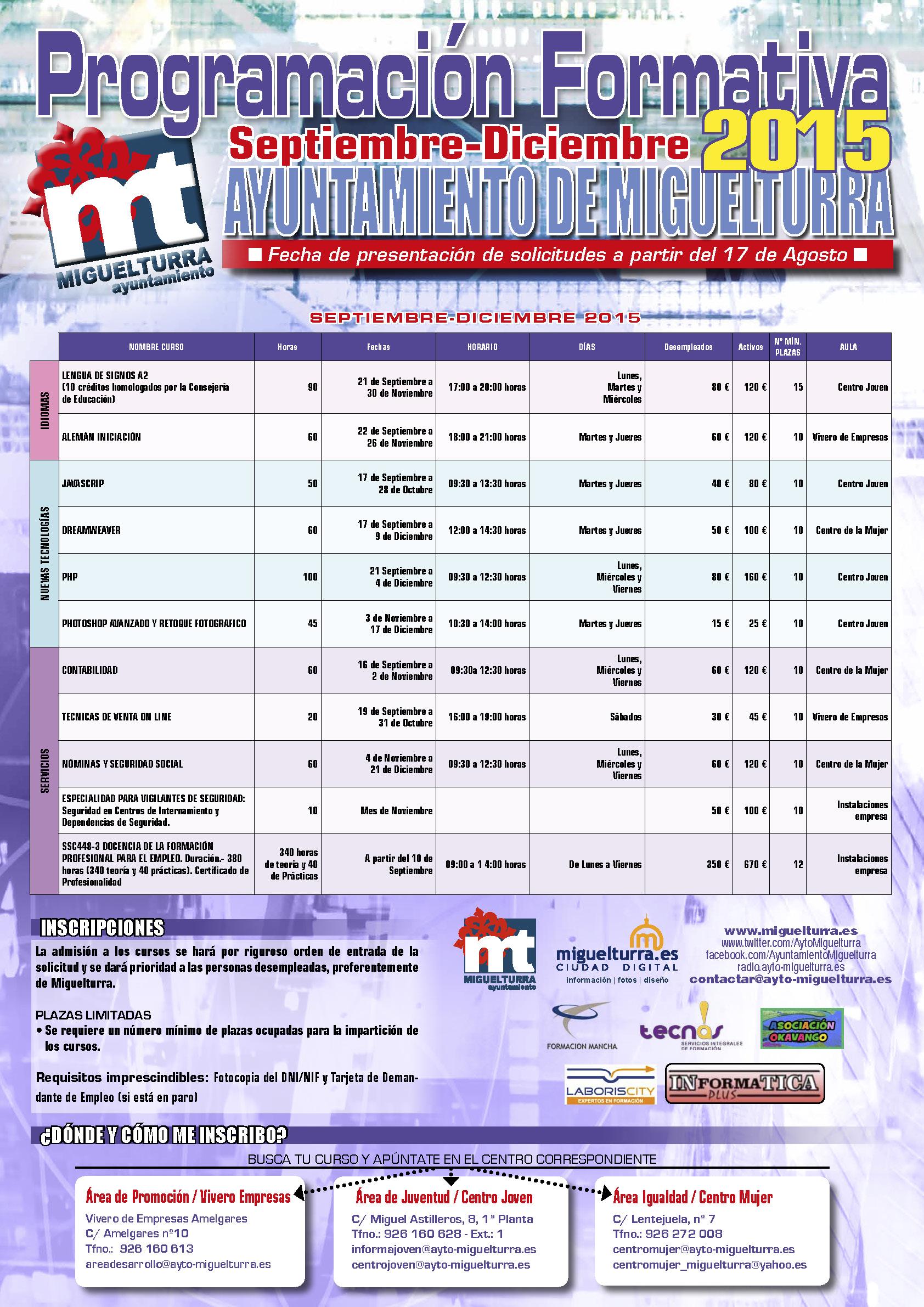 plan de formación del segundo semestre Ayto. de Miguelturra 2015