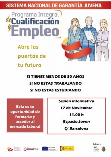 Sesión informativa para jóvenes desempleados del Programa Integral de Cualificación y Empleo