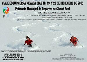 Abierto el plazo de inscripción para el viaje a esquiar en Sierra Nevada
