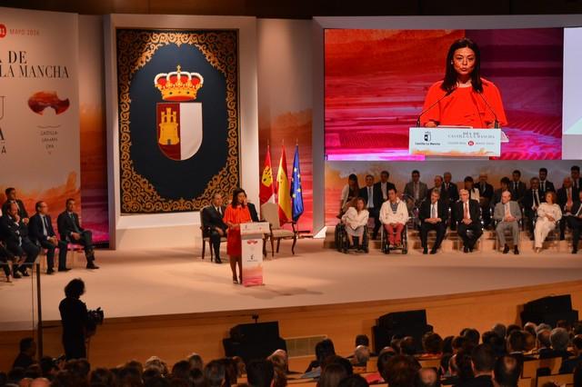 Pilar Zamora durante el Acto Instuticional del Día de Castilla-La Mancha