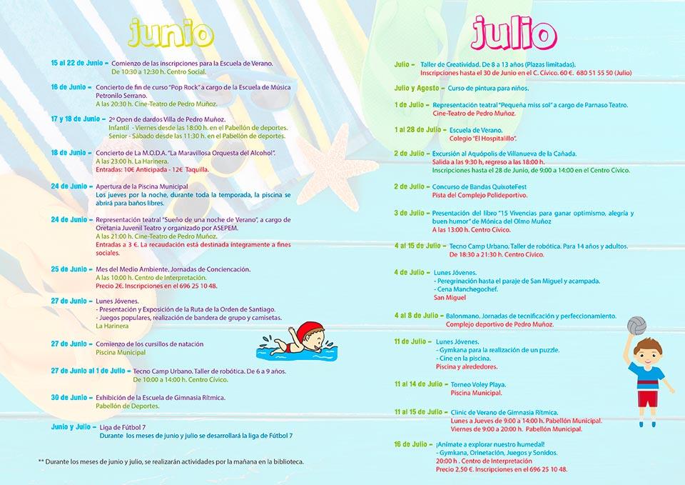 Con el lema «Vive el verano, vive tu pueblo» se presenta la oferta de cultura, juventud y deportes de Pedro Muñoz