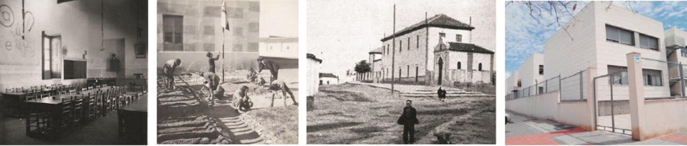 De izda. a dcha., una clase de El Santo en su origen; niños en el patio de colegio; El Santo en 1926 junto a la ermita de San Sebastián; y el centro, hoy.