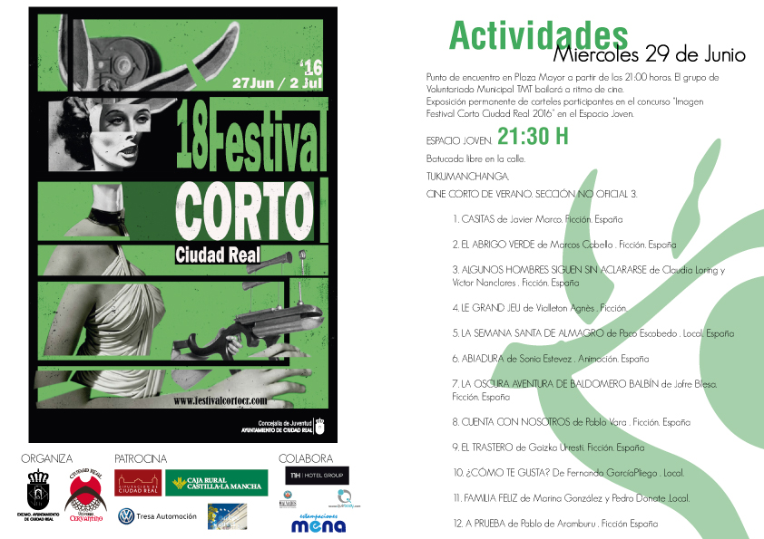 Proyección de cortometrajes de la sección no oficial en el Espacio Joven. 18 Festival Corto Ciudad Real