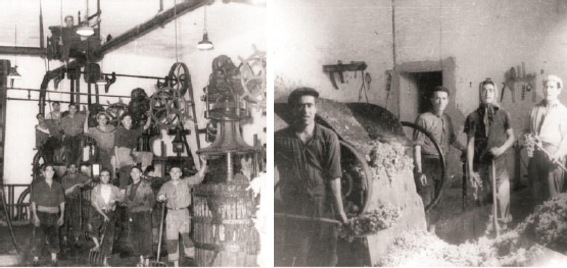 Procesos antiguos de prensado en los que era muy necesaria la mano de obra humana