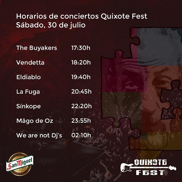 Horarios de los grupos del Quijote Fest