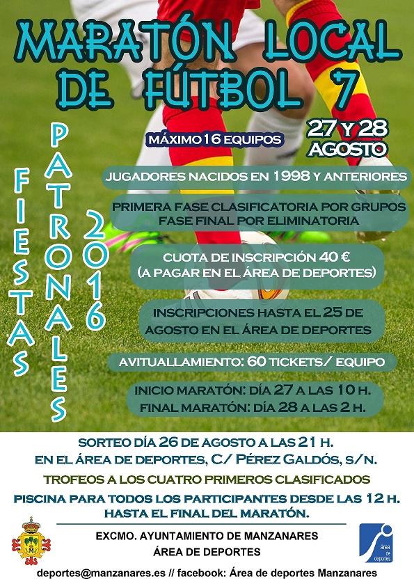 Deportes de Manzanares convoca un maratón local de fútbol 7