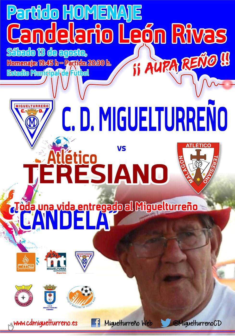 El C.D. Miguelturreño rendirá un homenaje a Candelario León Rivas en los prolegómenos del partido ante el Atlético Teresiano