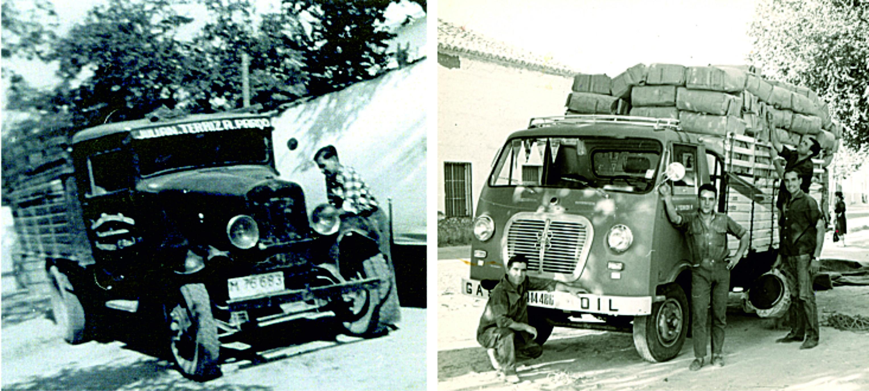 A la izquierda la vieja camioneta Chevrolet modelo 1929. Al lado, el AVI, un camión que resultó revolucionario.