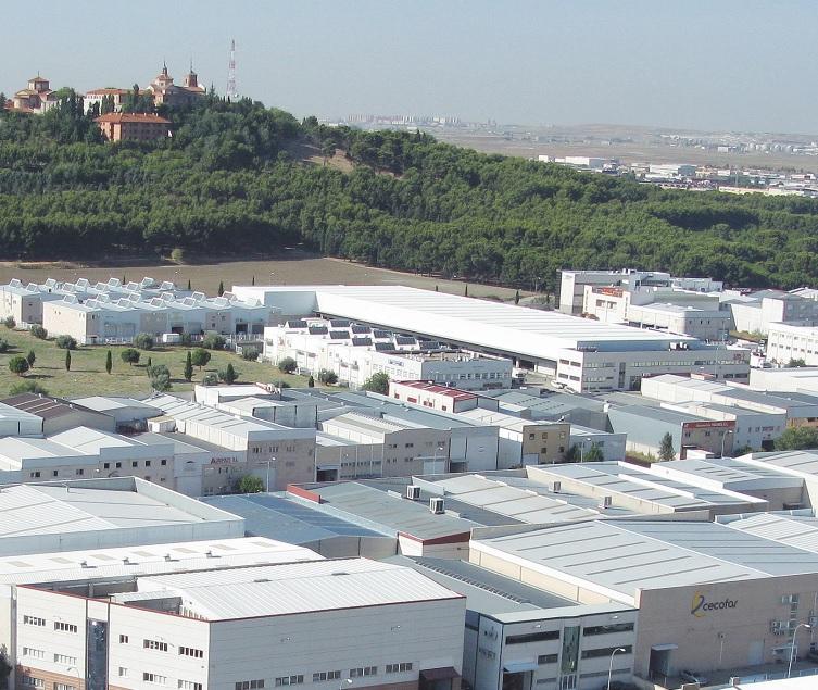 Vista panorámica de una de las zonas industriales de Getafe, el polígono Los Olivos.