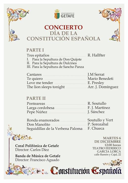 El Ayuntamiento de Getafe conmemora la proclamación de la Constitución Españolar con un concierto en el Teatro García Lorca