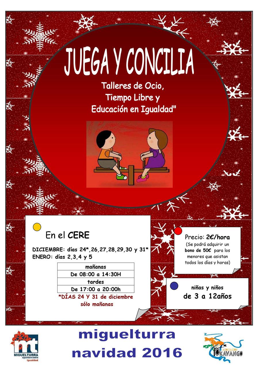 «Juega y concilia: Talleres de ocio, tiempo libre y educación en igualdad» para menores de 3 a 12 años en época navideña en Miguelturra
