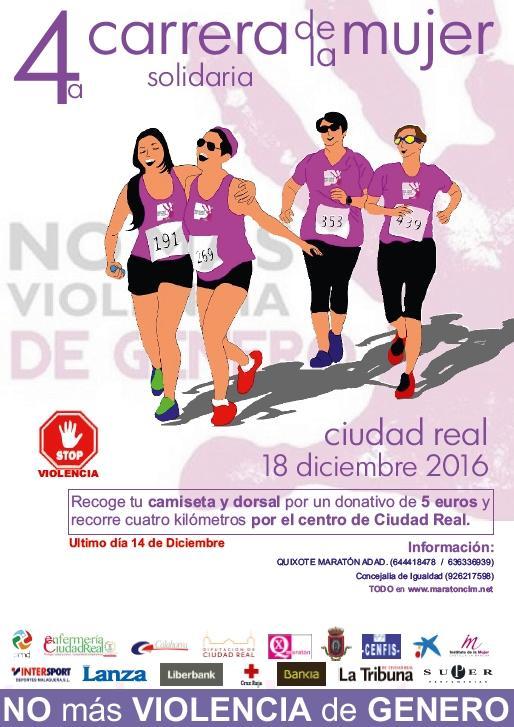 Mujeres y hombres tienen aún plazo para apuntarse a la 4ª Carrera de la Mujer Solidaria de Ciudad Real del 18 de diciembre contra la violencia de género