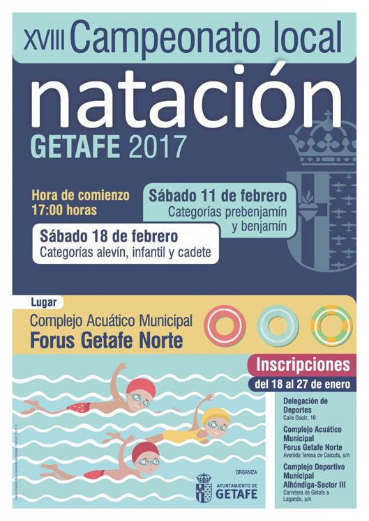 Mañana miércoles se abre el plazo de inscripción para participar en el XVIII Campeonato Local de Natación de Getafe