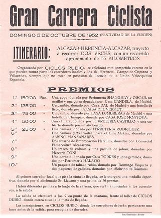 Cartel de carrera de Ciclos Rubio en 1952
