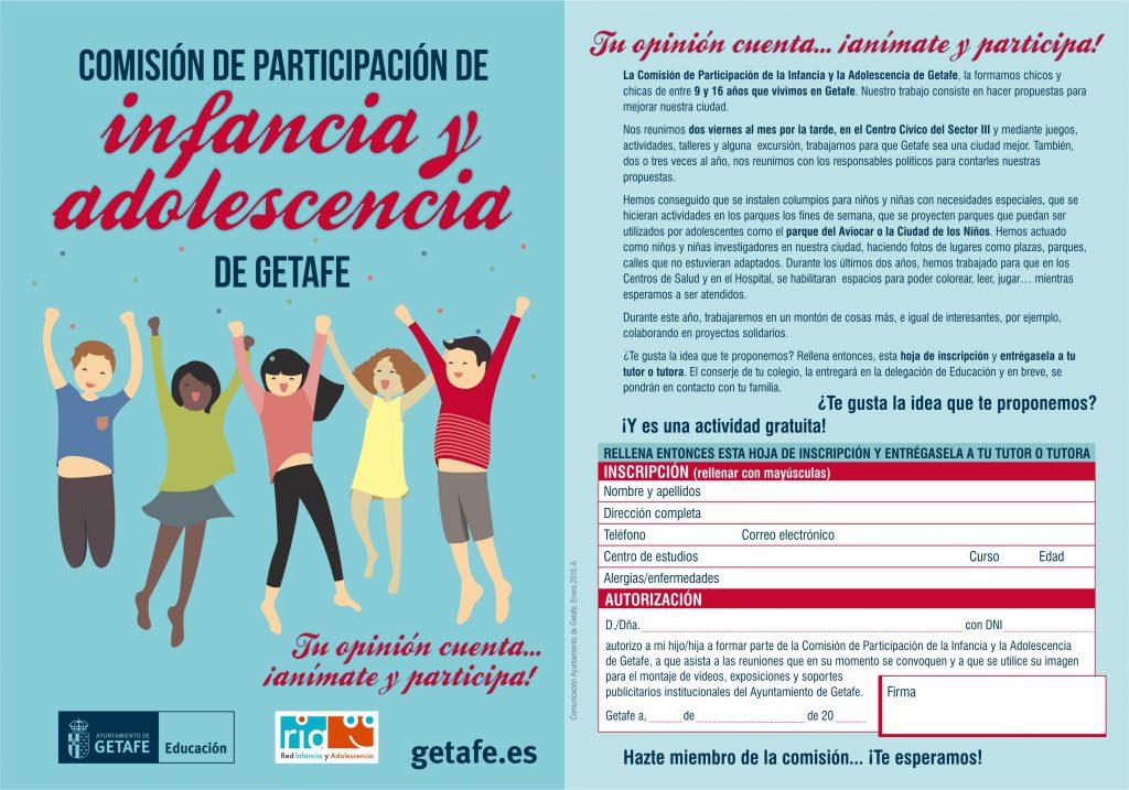 Los chicos y chicas de entre 9 y 16 años de Getafe podrán participar en la Comisión de Infancia y Adolescencia