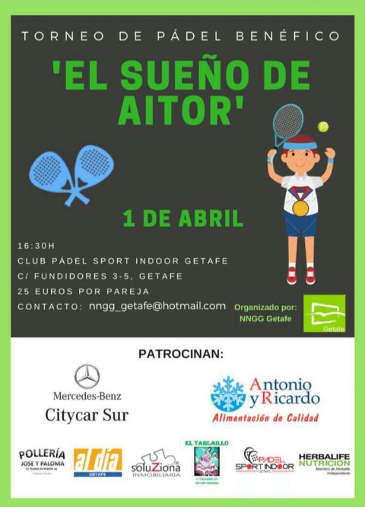 Nuevas Generaciones de Getafe organiza un torneo de pádel solidario a favor de 'El sueño de Aitor'