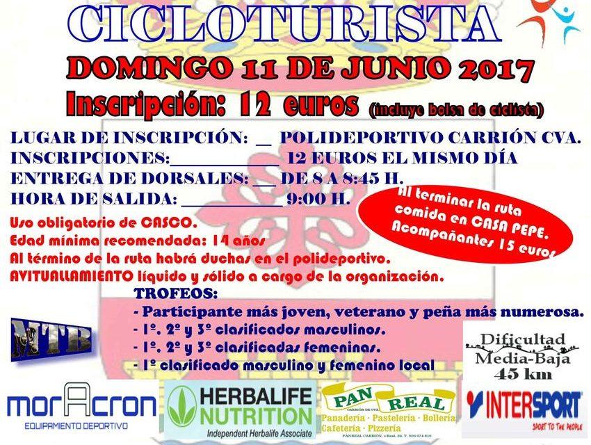 El Ayuntamiento de Carrión de Calatrava organiza la 12ª Ruta Cicloturista que se celebra el domingo 11 de junio