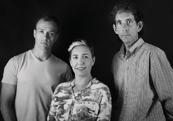Los tres profesionales de Iferga en la actualidad, Gonzalo, Mª del Prado y José Manuel, hijo de Inocente