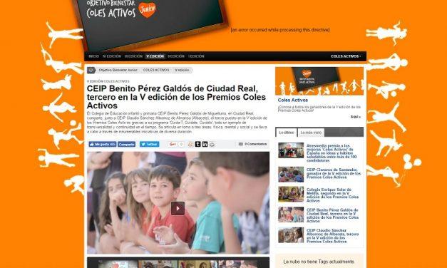 El Colegio Público Benito Pérez Galdós, de Miguelturra, tercero en la quinta edición de los Premios Coles Activos de Atresmedia