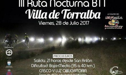 Deporte y solidaridad en la III Ruta Nocturna BTT de Torralba
