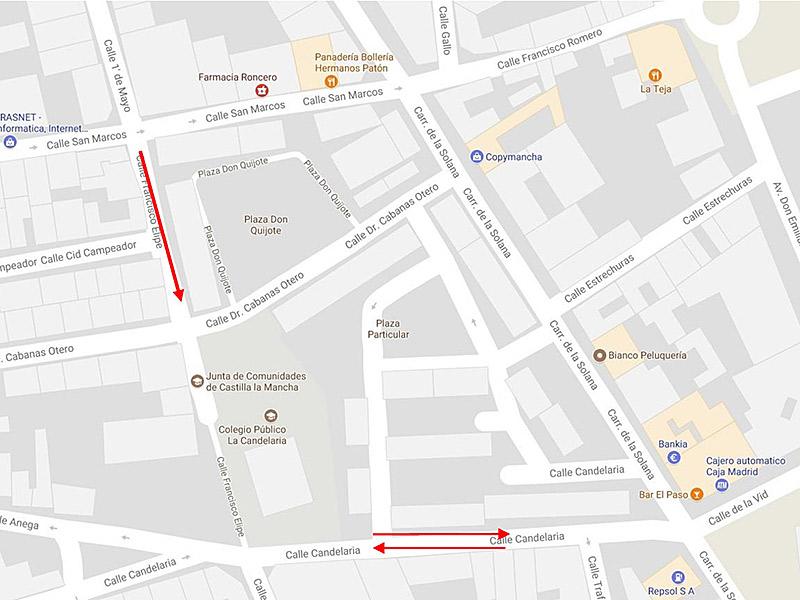 """Nueva reordenación del tráfico en zona del Colegio Público """"La Candelaria"""""""