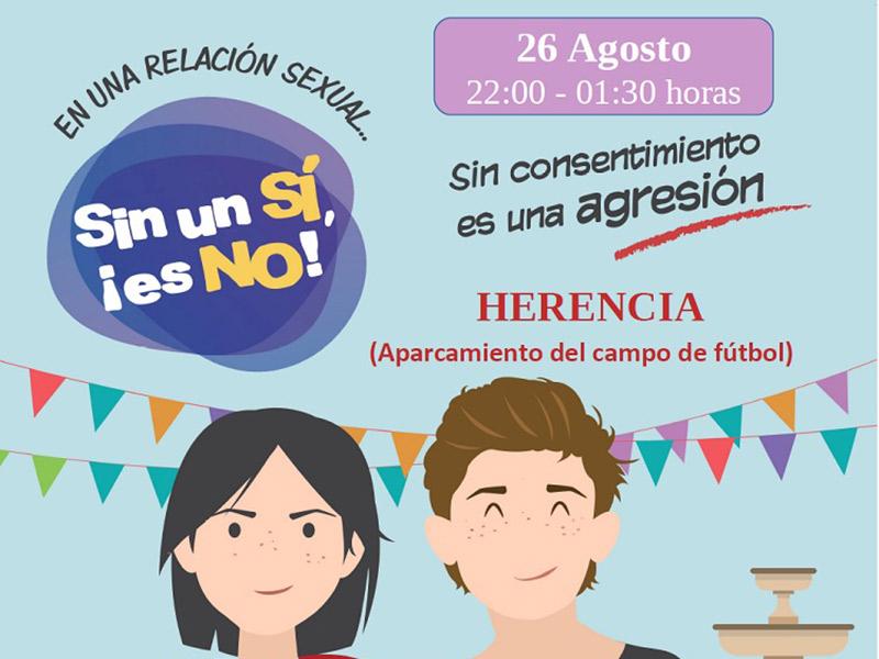 """Llega a Herencia la campaña """"Sin un si, ¡es no!"""" Contra las violaciones en cita"""