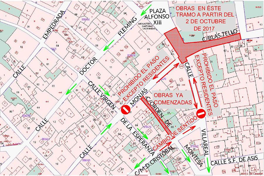 Modificación del tráfico en el casco histórico debido a obras de semipeatonalización