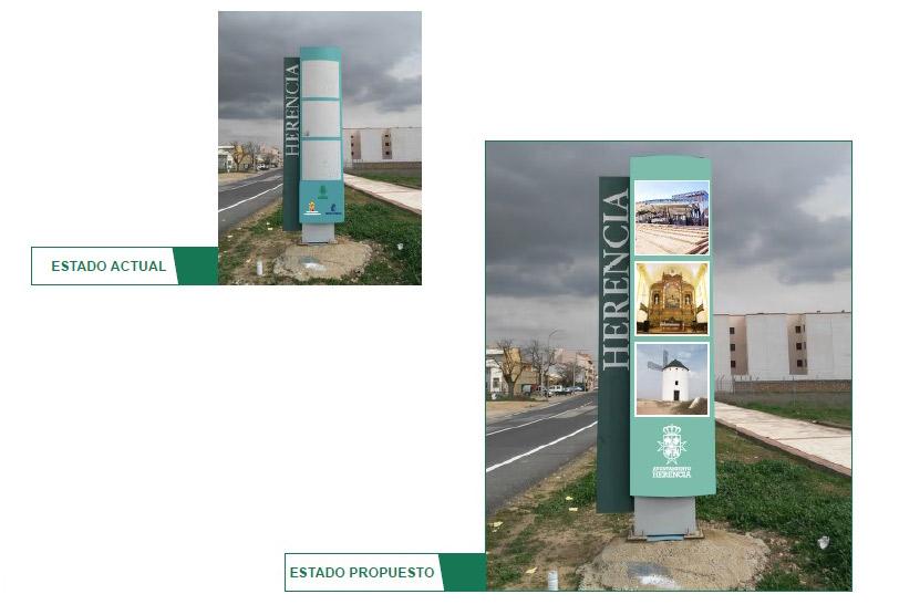 El Ayuntamiento de Herencia comienza la renovación de los monolitos de entrada del municipio