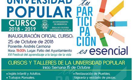 Variedad y calidad de enseñanzas en el nuevo programa de Universidad Popular de Herencia