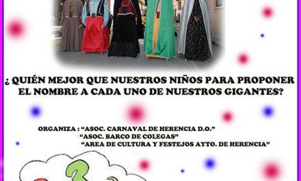 """Carnaval de Herencia 2019. Concurso, """"Pon nombre a nuestros queridos Gigantes"""""""