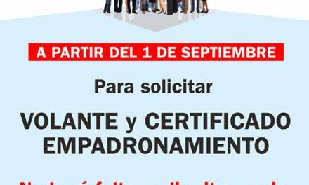 Desde el 1 de septiembre se podrá pedir el volante y certificado de empadronamiento sin cita previa en Getafe