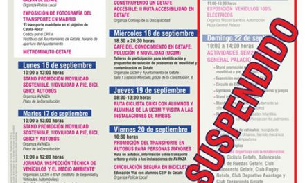Por causas meteorológicas el sábado y el domingo se suspenden las actividades de la Semana de la Movilidad en Getafe