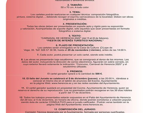 Abierto el plazo para la presentación de propuestas del Cartel de Carnaval de Herencia 2020