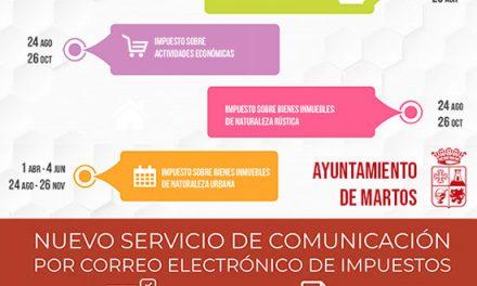 El Ayuntamiento de Martos pone en marcha un nuevo servicio de comunicación por correo electrónico de impuestos