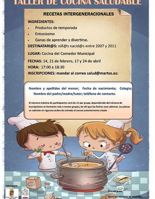 El Ayuntamiento de Martos convoca una nueva edición del Taller de Cocina Saludable para menores