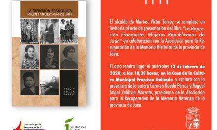 La obra de la investigadora Carmen Rueda sobre la represión franquista a mujeres jiennenses se presenta este miércoles en la Casa de la Cultura