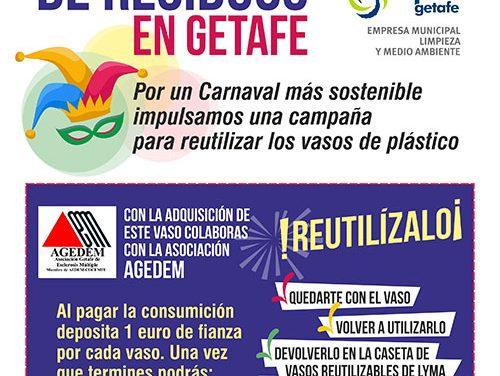 Getafe reciclará los vasos de plástico durante los Carnavales 2020 a beneficio de la asociación AGEDEM