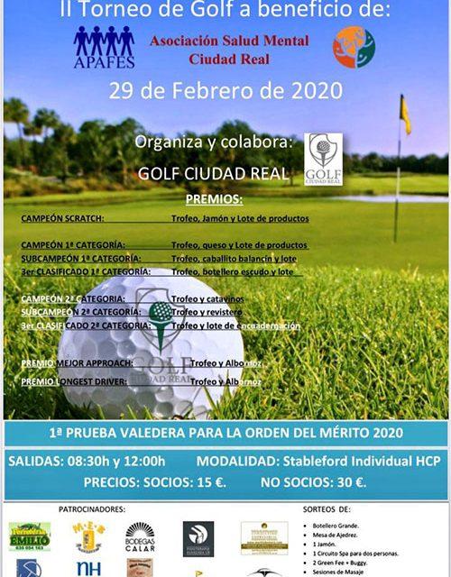 Golf Ciudad Real acoge este sábado, 29 de febrero, el II Torneo de Golf a beneficio de la Asociación Salud Mental Ciudad Real-Apafes
