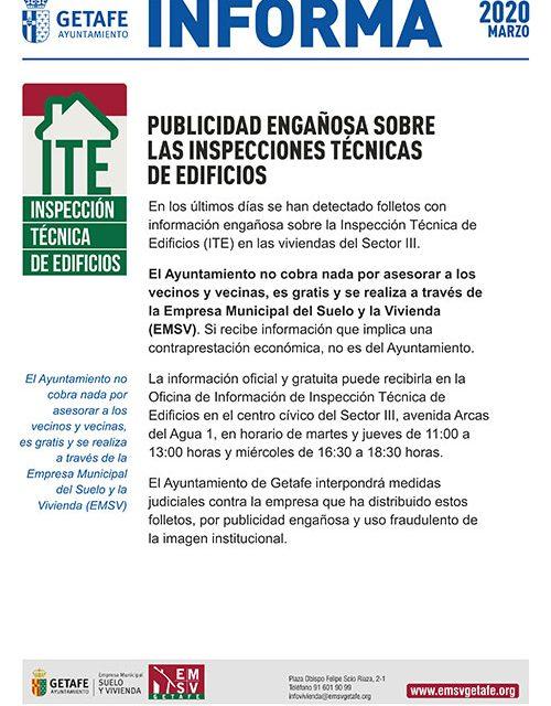 El Ayuntamiento de Getafe detecta publicidad engañosa sobre las inspecciones técnicas de edificios
