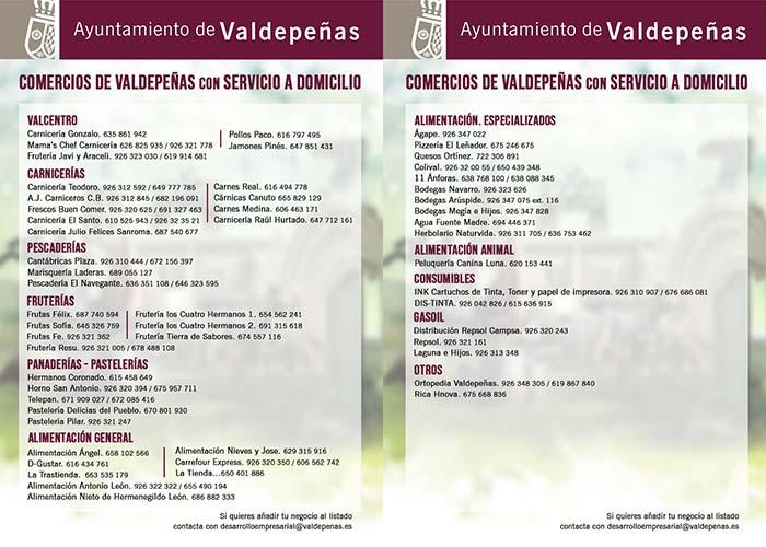 El Ayuntamiento de Valdepeñas facilita un listado de establecimientos con servicio a domicilio