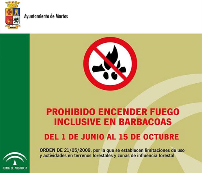 El Ayuntamiento de Martos recuerda la prohibición del uso de fuego en terrenos forestales y áreas de influencia forestal