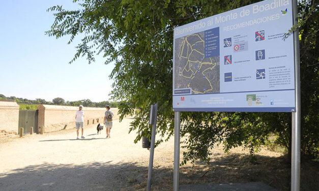 El Ayuntamiento de Boadilla instala carteles en todas las entradas al monte para recordar las normas de acceso al mismo