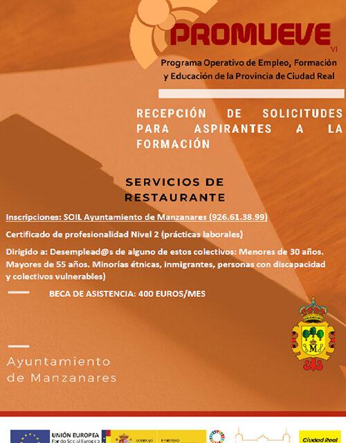 Diputación y Ayuntamiento de Manzanares ofertan un curso de servicio de restaurante bajo el programa 'Promueve'