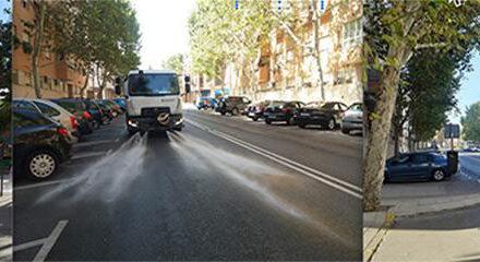El baldeo de las calles de Pinto incorpora desinfectante