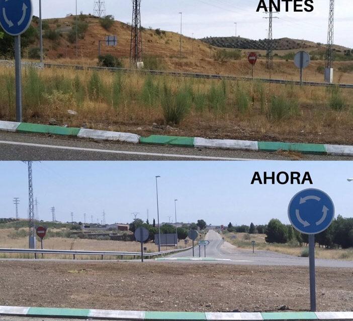 Los trabajos de limpieza y desbroce continúan en espacios como el puente de San Martín, avenida de América o Azucaica